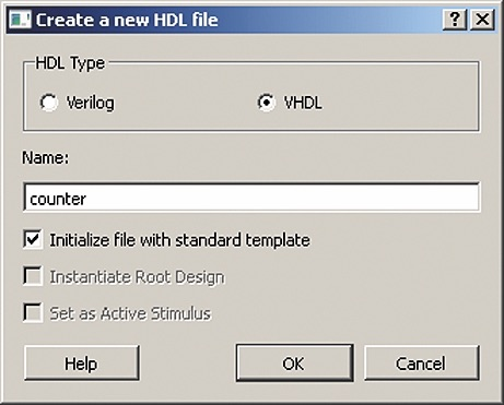 Начало создания нового файла HDL