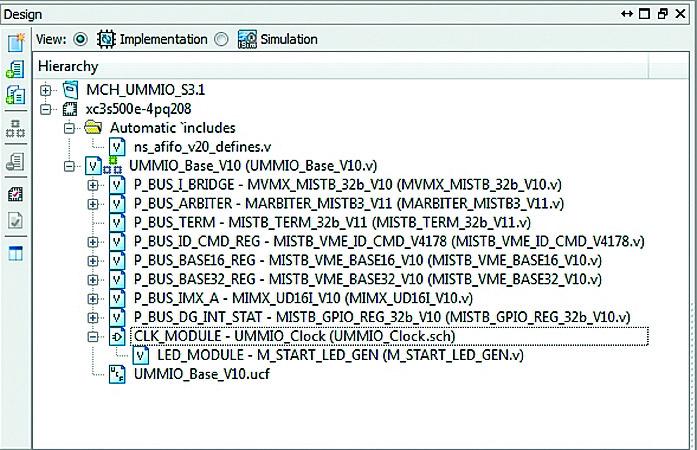 Иерархия проекта ПЛИС XC3S500E