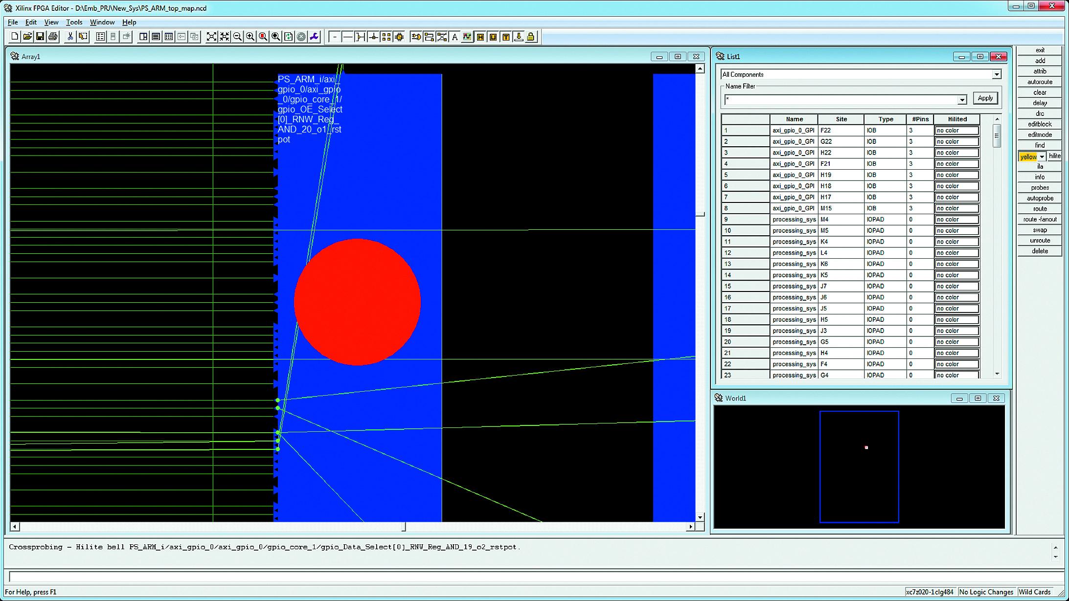 Отображение элементов анализируемого маршрута передачи данных в окне топологического редактора FPGA Editor