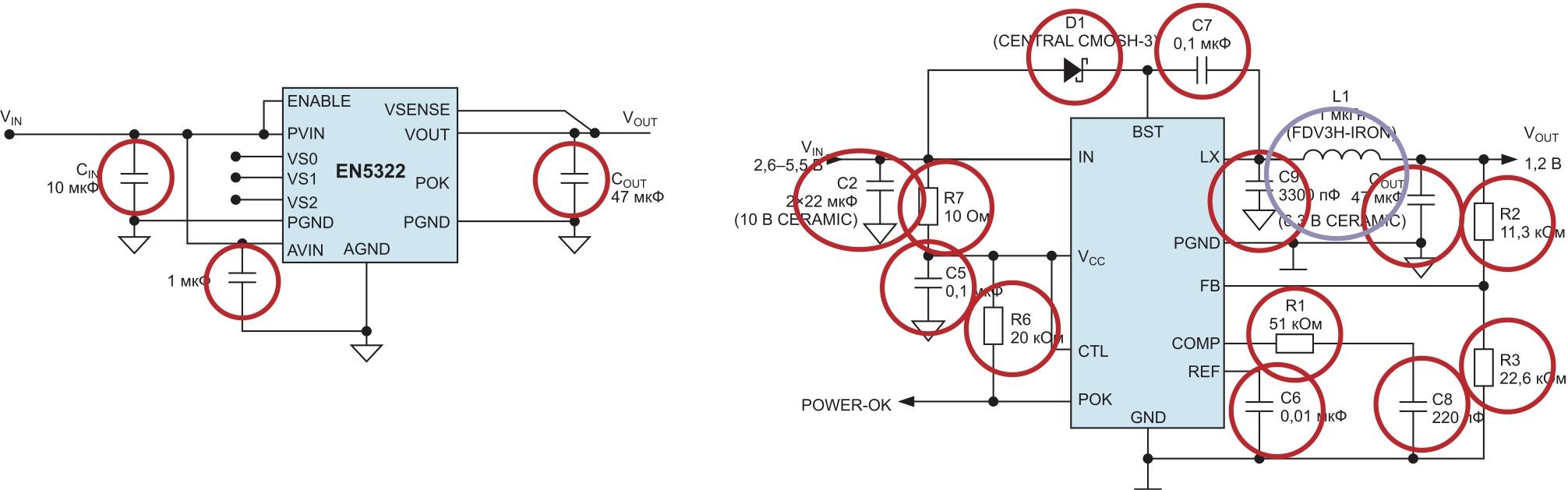 Количество внешних компонентов при использовании: а) PowerSoC; б) дискретных импульсных преобразователей напряжения