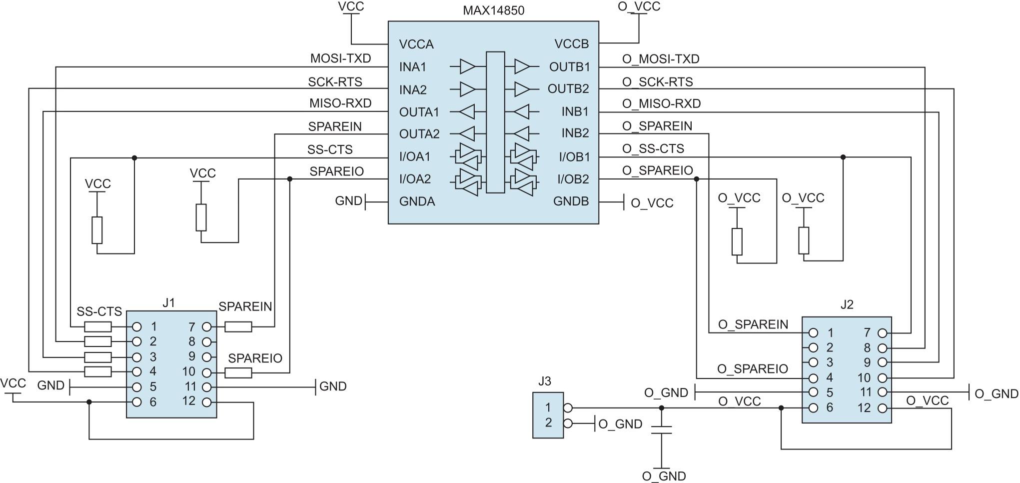 Структурная схема модуля расширения MAX14850PMB1