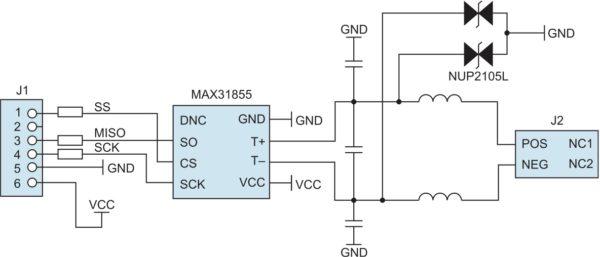Структурная схема модуля расширения MAX31855PMB1