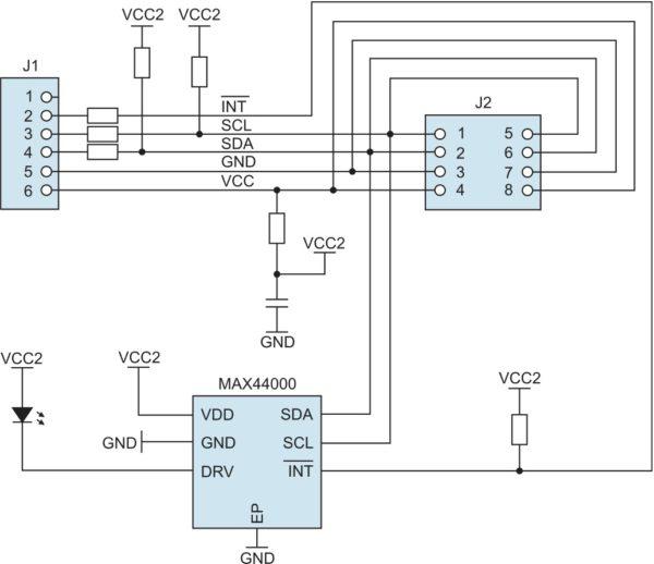 Структурное представление архитектуры модуля расширения MAX44000PMB1