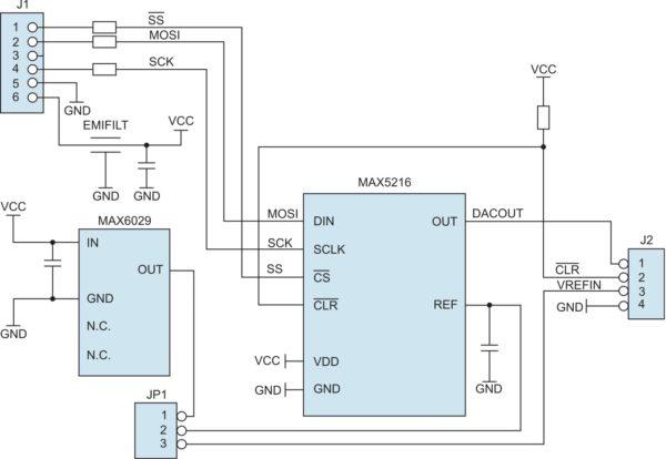 Структурное представление архитектуры модуля расширения MAX5216PMB1
