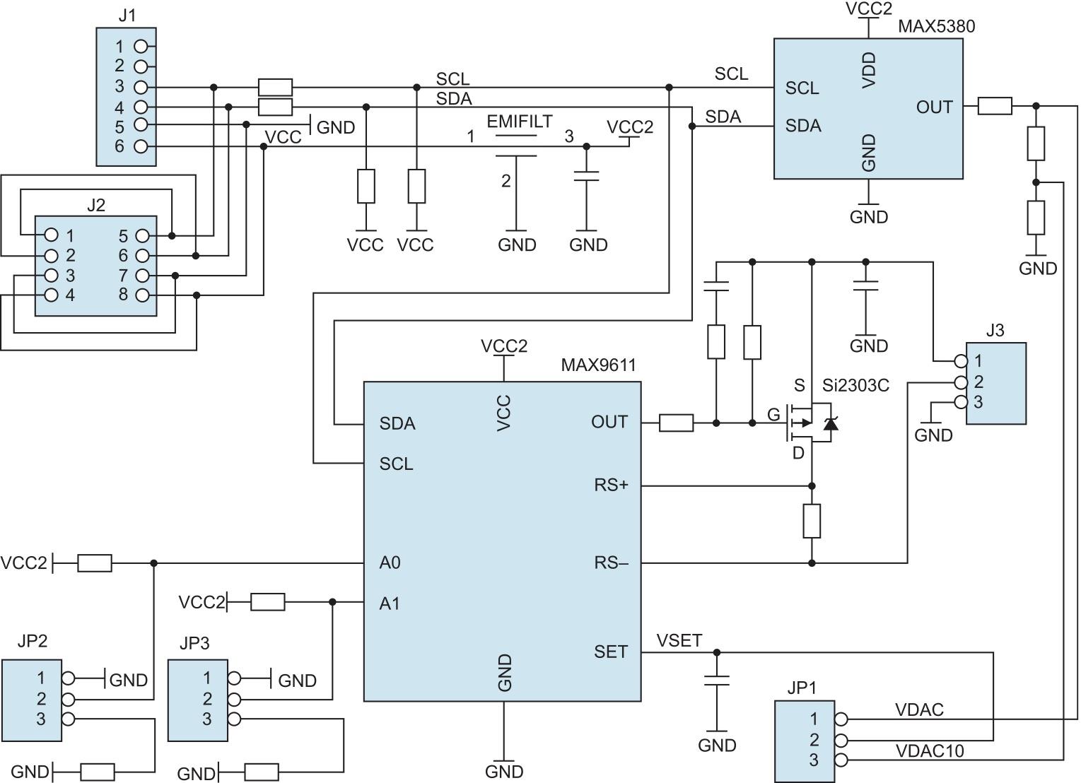 Структурное представление архитектуры периферийного модуля MAX9611PMB1