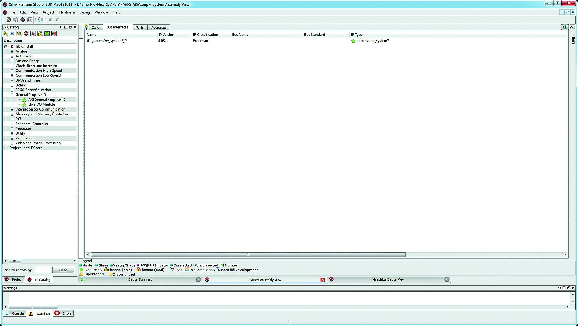 Вид вкладки Bus Interfaces после включения процессорного блока PS в спецификацию MHS