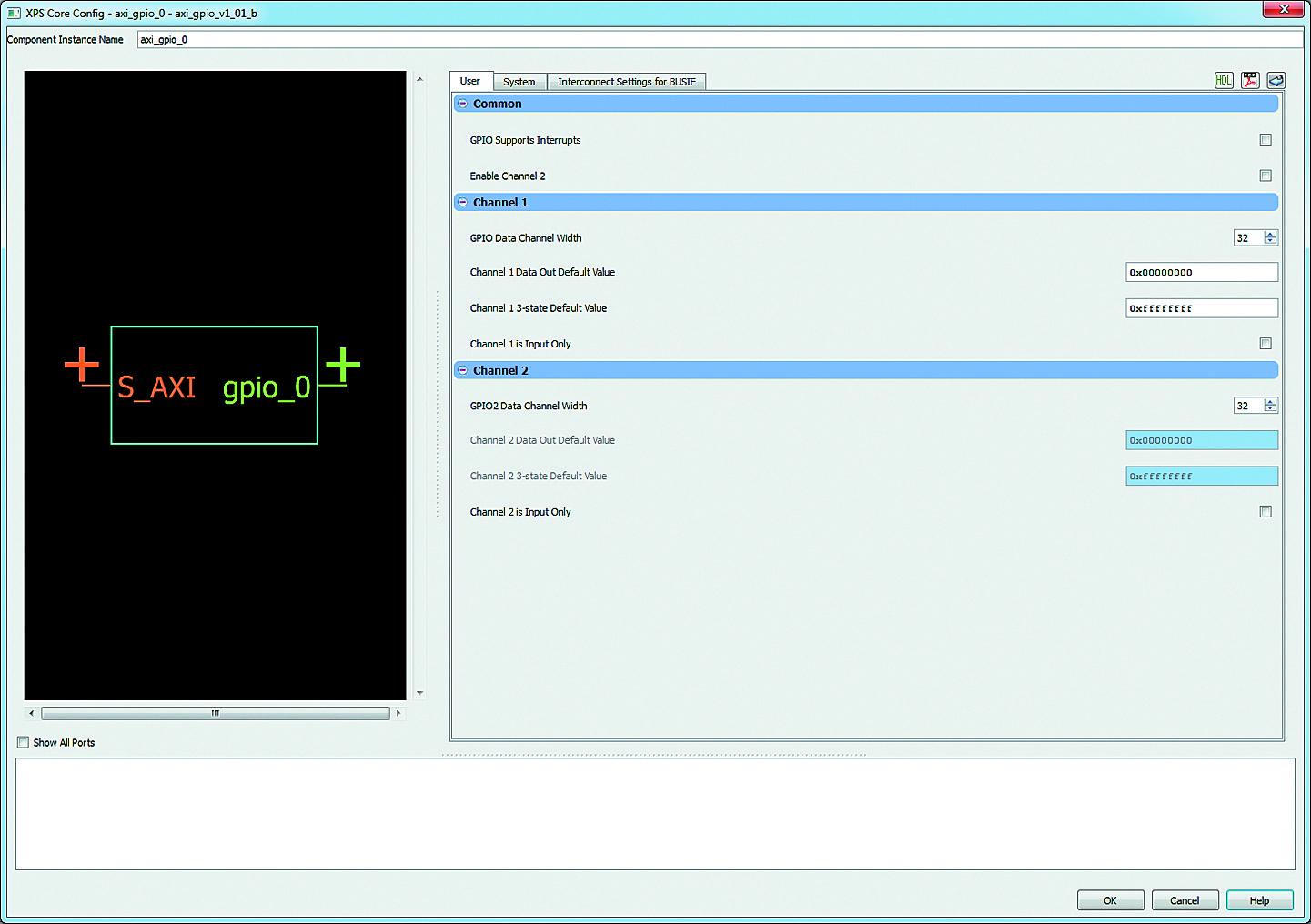 Вид вкладки User диалоговой панели «мастера» настройки ядра AXI General Purpose IO