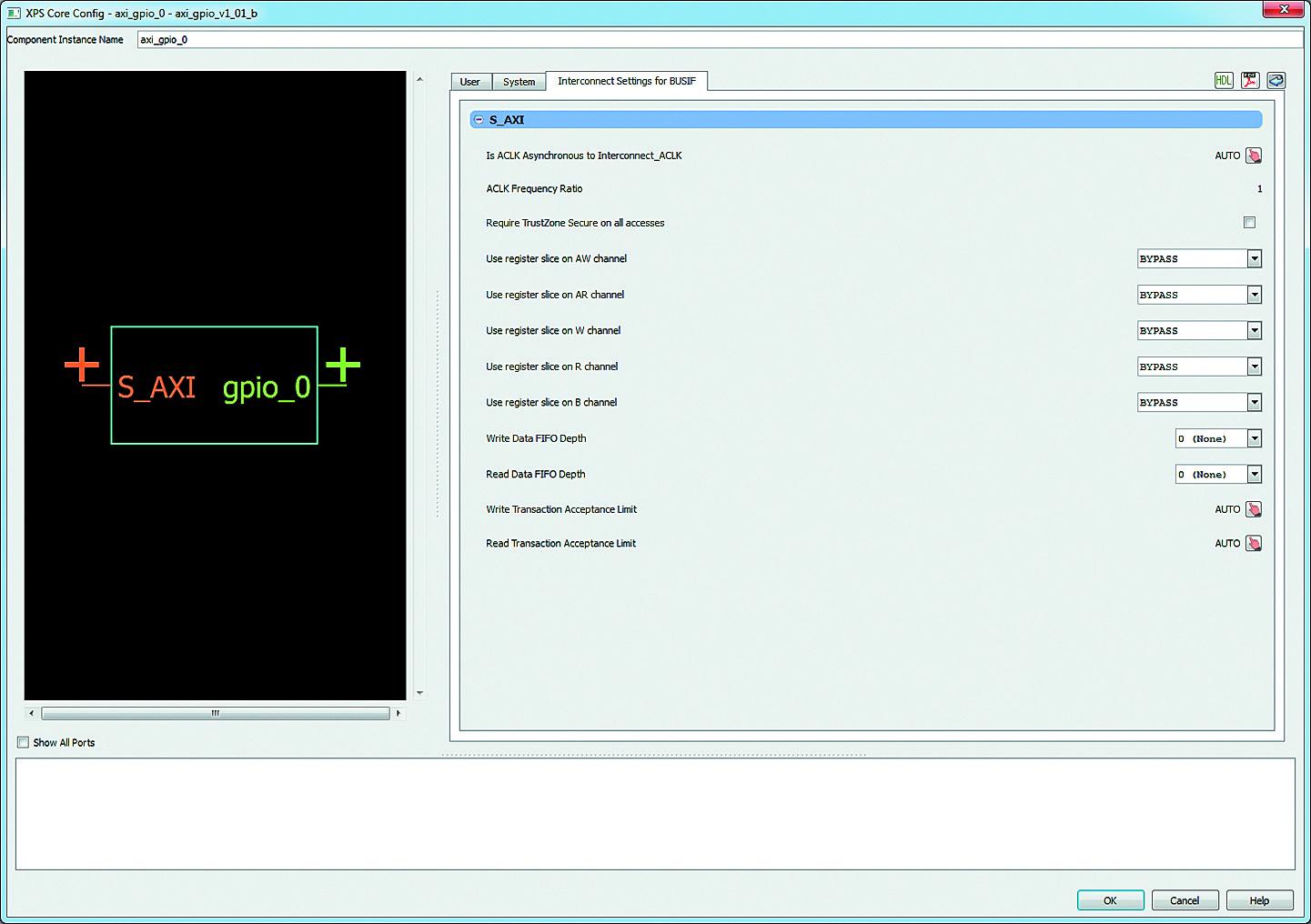 Вид вкладки Interconnect Settings for BUSIF диалоговой панели «мастера» настройки ядра AXI General Purpose IO
