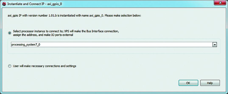 Выбор способа подключения добавляемого экземпляра IP-ядра к микропроцессорному блоку