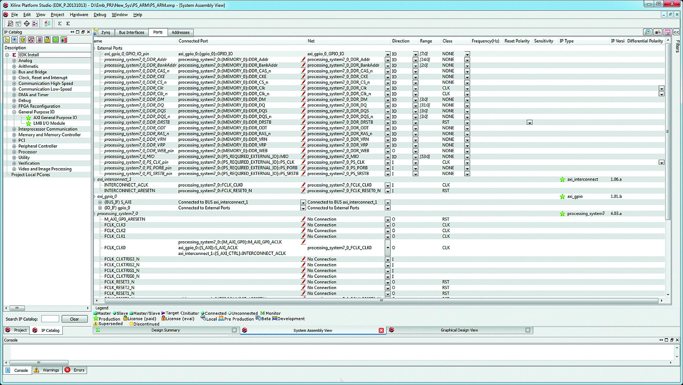 Вкладка Ports страницы System Assembly View основного окна средств XPS