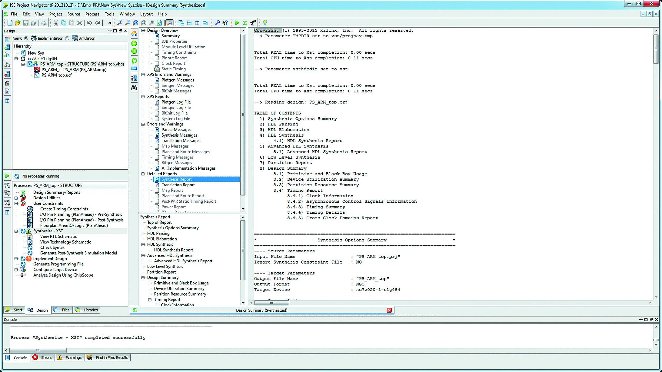 Открытие отчета о результатах процесса синтеза аппаратной части разрабатываемой микропроцессорной системы