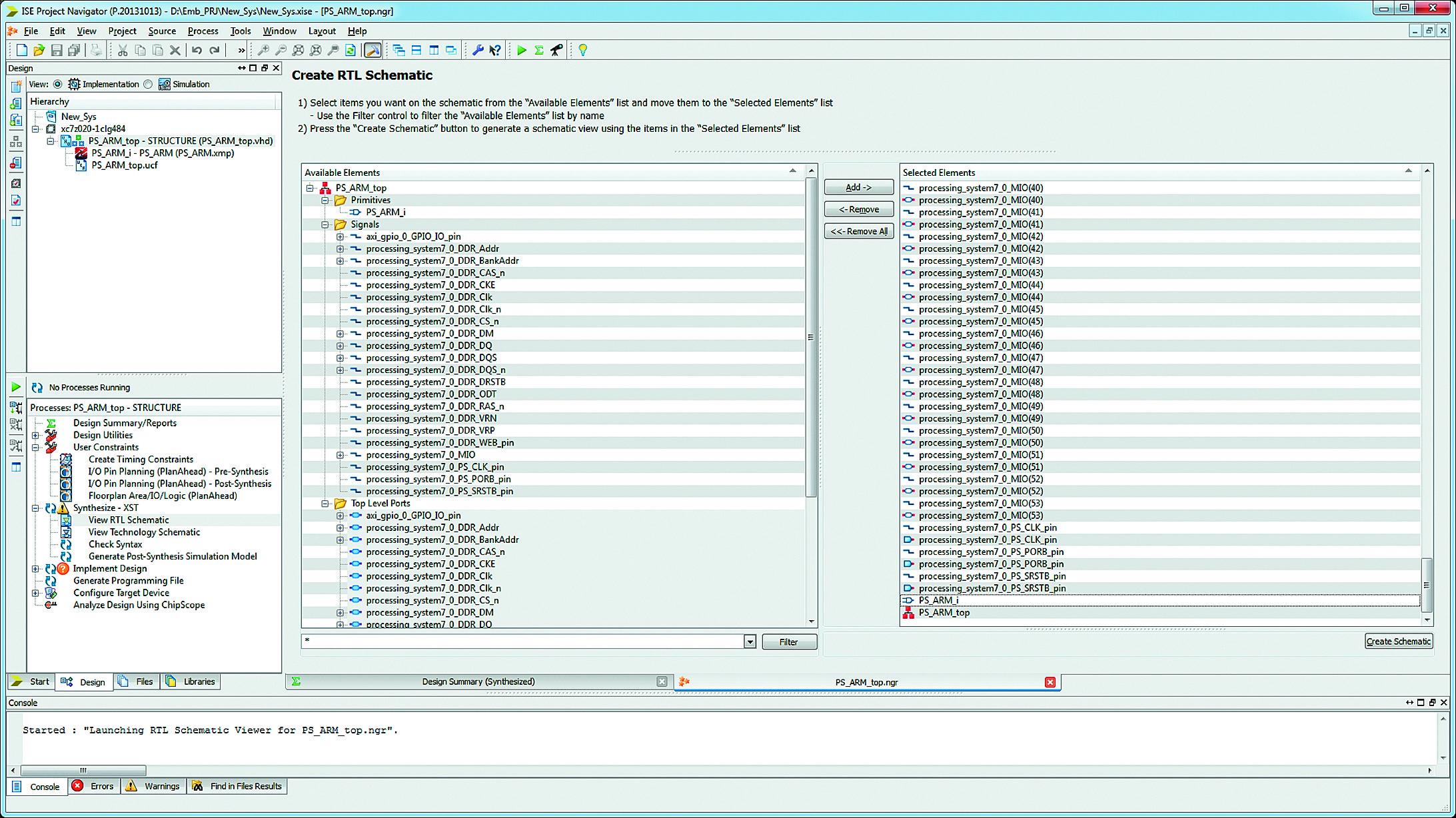 Выбор элементов, отображаемых на схеме RTL-представления синтезированного HDL-описания, с помощью «мастера» Explorer Wizard