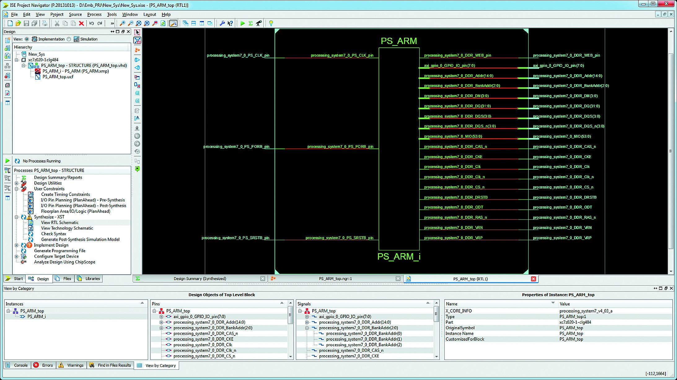 Отображение списка соединений аппаратной части разрабатываемой системы на RTL-уровне в схемотехнической форме в окне программы RTL Viewer