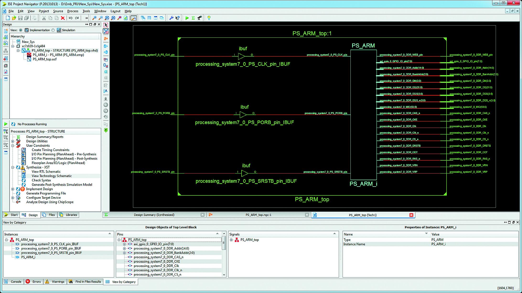 Отображение результатов синтеза аппаратной части разрабатываемой системы на технологическом уровне в схемотехнической форме